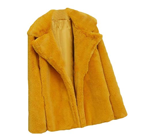 Howme Collar Top Down Size Fluffy Yellow Coat Women Plus Color Fall Turn Solid rqw1SrB0gx