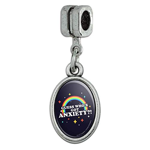 GRAPHICS & MORE Guess Who's Got Anxiety Rainbow Funny Humor Italian European Style Bracelet Oval Charm ()