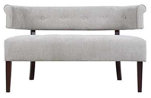 (Jennifer Taylor Home Jared Collection Modern Chic Stylish Hand Tufted Armless Settee Bench with Wooden Legs, Silver Gray)