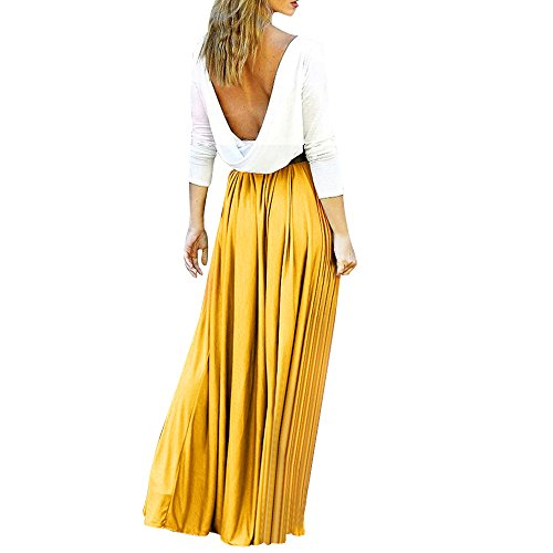 ANJUNIE Women High Waist Elegant Dresses Floor-Length Backless Long Beach Swing Dress(Yellow,L) -