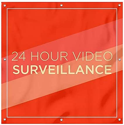 24 Hour Video Surveillance Modern Diagonal Wind-Resistant Outdoor Mesh Vinyl Banner CGSignLab 8x8