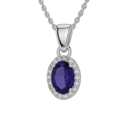 Or blanc/or/Rose/Jaune/Or/Platine forme ovale Tanzanite et Diamant Collier agdnc-1072-vsgh