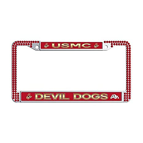 Amazon com: Nuoousol U S M C Red Sparkle Crystal License Frame tag