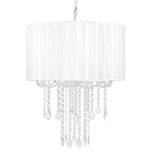 (Tadpoles 1 Bulb Shaded Chandelier, White)