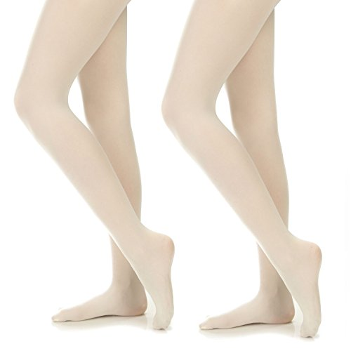 Silky Toes Girls' Microfiber Opaque Footed Tights- 2 Per Pack (Size: 8-10, Ivory (2 Pairs))