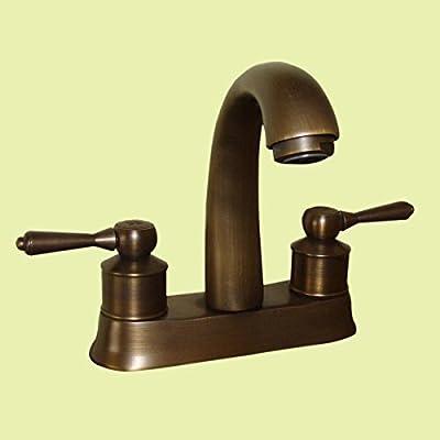 Renovator's Supply Antique Brass Classic Bathroom Sink Faucet Centerset 2 Lever