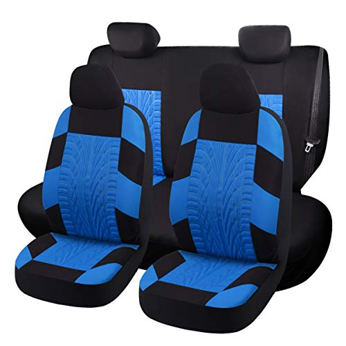 (SHAKAR Universal Fit Car Seat Covers-Tire Tracks Seat Covers,Deep Trace,5 Seats (tire-Blue))