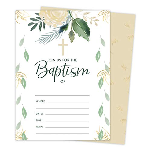 Baptism Number 10 Invitations Invite Cards (25 Count) With Envelopes and Seal Stickers Vinyl Baby Boy Girl (25ct)