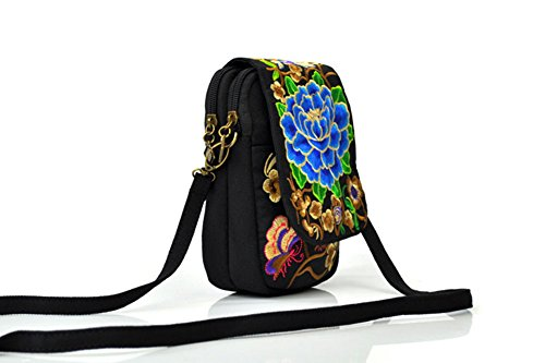 Bags Embroidered Eagsouni Blue Cross Body Flowers Womens Phone Bag Shoulder Style Small Crossbody Ethnic 4wwqvf5