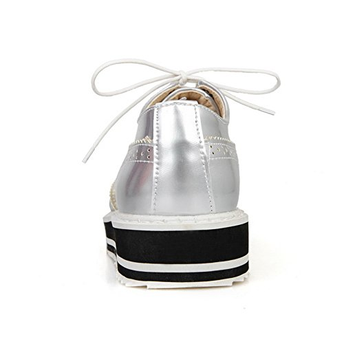Balamasa Ladies Stringate In Vernice Tinta Unita Scarpe-scarpe In Vernice Argento Massiccio