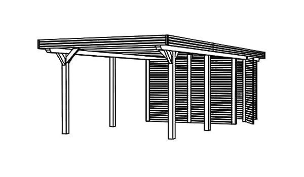 SKAN HOLZ Europe Gmbh Cabaña Madera CarPort spess tipo 355 x 846 cm cola para madera con abstell habitación: Amazon.es: Jardín