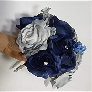 Navy Blue Grey Rose Calla Lily Bridal Wedding Bouquet & Boutonniere 104