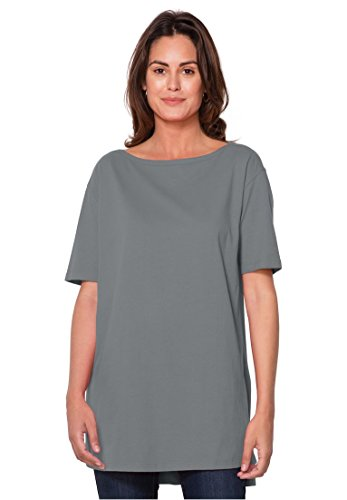 Women's Plus Size Perfect Boat Neck Tunic With Elbow Sleeves Medium Heather