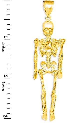 Petits Merveilles D'amour - 10 ct 471/1000 Diamant Coupe d'or 3D Skeleton Dangle Pendentif Pendentif