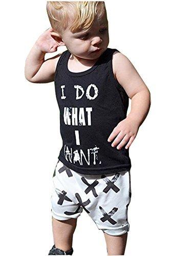 2pcs Newborn Toddler Kids Baby Boys Girls Black T-shirt Tops+White Cross Print Pants Outfits Clothes Set (90(1-2years))