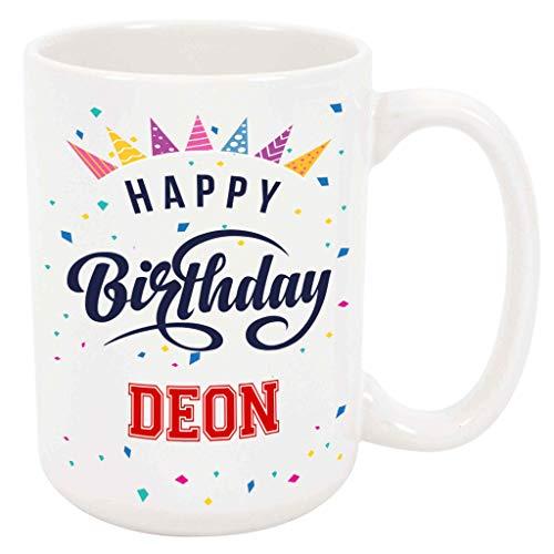 Happy Birthday Deon - Large 15 Ounce Coffee or Tea Mug, Gift Present Birthday Unique Special Fun Idea