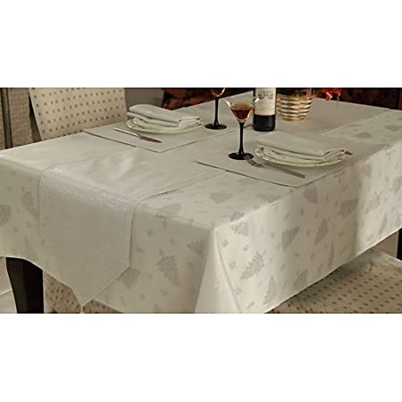 Silver Christmas Tree Design Dining Table Set For Large 6 Seater Tables  (Includes Tablecloth,