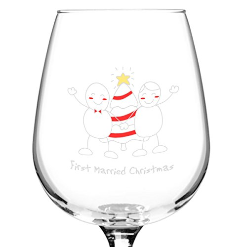 First Married Christmas Wine Glass- 12.75 oz.- Cute Christmas Present for Just Married Newlywed Couples- Sweet Keepsake for 1st Xmas Together- Made in USA
