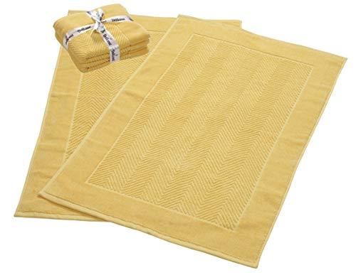 900 GSM Machine Washable Jacquard Chevron 100% Cotton Bath Mats – 21×34 Inches 2-Pack – Hotel-Spa Tub-Shower Bath Mat Floor Towels -Soft & Absorbent Cotton Bath Mats- Yellow Bath mat set for Bathroom