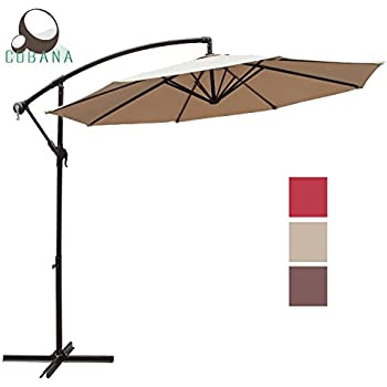 This Item COBANA 10 Ft Patio Umbrella Offset Hanging Umbrella Outdoor  Market Umbrella Garden Umbrella, 250g/sqm Polyester, Beige