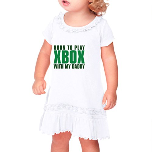 Price comparison product image Born To Play Xbox With My Daddy Infants Sunflower Short Sleeve Dress White 12 Months