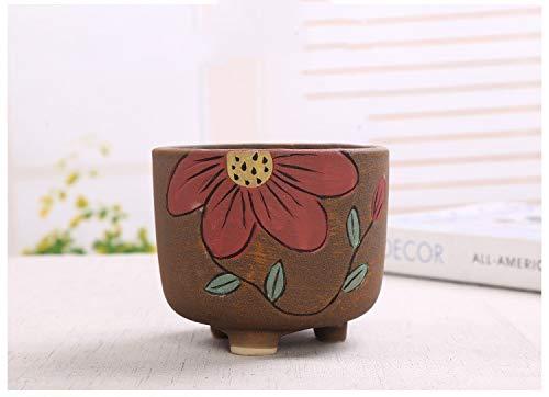 Extra Large Brown Red Cylinder Green Plant Ceramic Large Diameter Platter Flower Pot, Succulent Cactus Flower Pot/Plant Pot/Home Garden Office Desktop Decoration