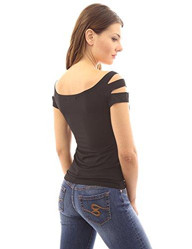 ouverture avec une PattyBoutik de rond col courtes stretch T manches Sexy l'paule shirt Noir femmes CvCqB