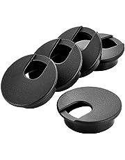 "2"" Black Desk Grommet, Plastic Wire Organizers, Computer Cable Hole Cover Plug Cap Insert(5 Pack)"