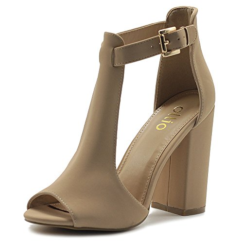 Ollio Women's Shoes T-Strap Chunky High Heel Bootie Sandals MG00H47 (7.5 B(M) US, Nude) ()