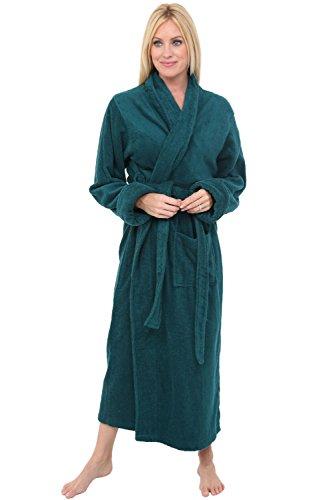 Alexander Del Rossa Womens Turkish Terry Cloth Robe, Long Cotton Bathrobe, 3XL 4XL Teal (A0126TEA4X)
