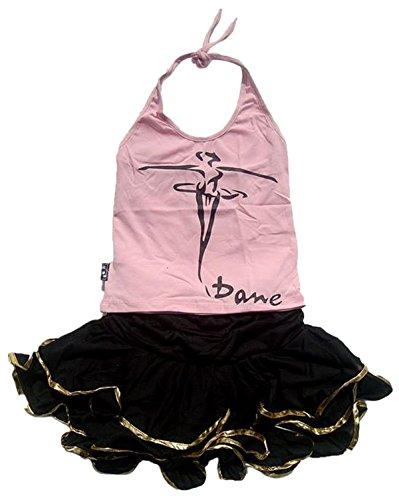 Children Girls Pattern Print Latin Dance Outfit Dress Ballroom Training Skirts Tutu Pink XXL (Latin Dancing Costume Patterns)