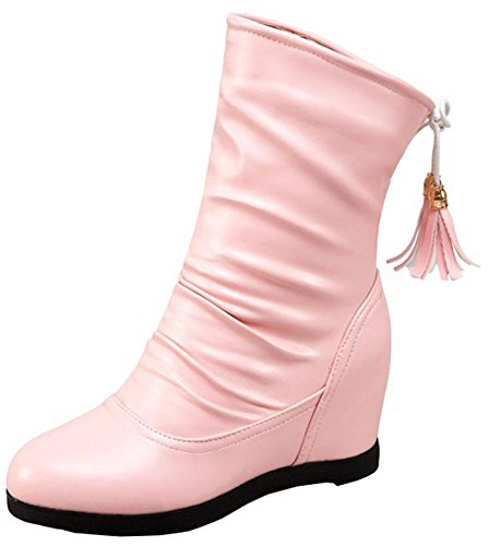 Mid Toe Calf Martin Stylish Easemax Inside Women's Round Mid Boots Pull Heels On Wedge Pink tqIPRwP