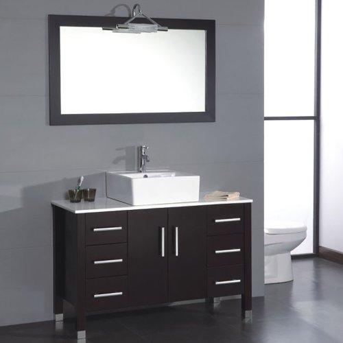 48 Inch Espresso Wood & Porcelain Single Vessel Sink Bathroom Vanity Set-