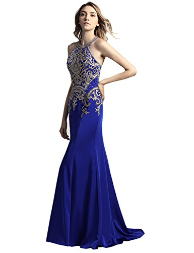 Sequins Halter Prom Formal Dress - 8