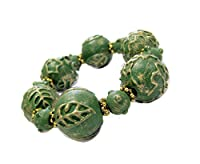 Linpeng BR05-3 Carved & Painted Vintage Chunky Wood Beads Stretch Bracelet