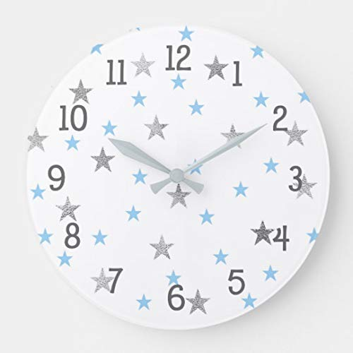 - Moonluna Twinkle Baby Nursery Decor Blue Silver Stars Funny Wall Clocks Decorative for Living Room Kitchen Home Decor Wooden Clock 12 Inches