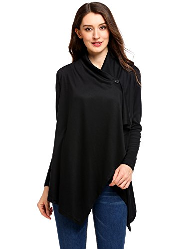 Meaneor Women's Long Sleeves One Button Open Front Wraps Soft Cardigan (Black S)