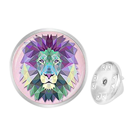 WAZZIT Round Metal Tie Tack Hat Lapel Pin Brooches Lion Art Banquet Badge Enamel Pins Trendy Accessory Jacket - Pins Lion Lapel Silver Sterling
