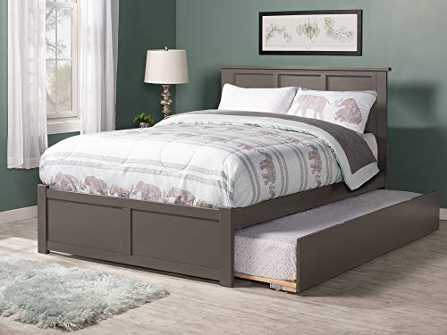Atlantic Furniture AR8632019 Madison Platform Bed with Flat Panel Footboard and Twin Size Urban Trundle, Full, Grey
