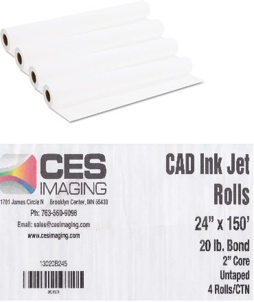 "4 Rolls 24 X 150 24-Inch X 150 Foot 20lb Bond Paper 2"" Core. By CES Imaging."