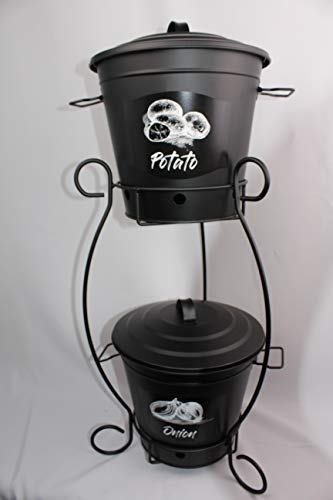 Decorative Handmade Color Coated Wrought Iron Stand W/Vintage Potatoes and Onion Canisters (BLACK)