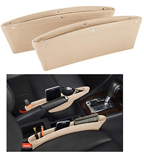 Leather Car Seat Catch Caddy- Gap Filler and Organizer in Between Front Seat and Console - Premium Quality PU Leather Accessory & Storage - (Beige)2 Pcs