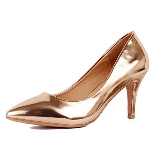 Classic Metallic Pumps (Guilty Shoes Womens - Embellished Classic Elegant - Closed Pointy Toe Low Kitten Heel - Dress Heeled Sandal Pump (8.5 M, 16-Rosegold1-Metallic))