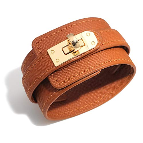 - Designer Inspired Wide Cuff Multilayer Leather Wrap Bracelet Unisex 23cm 9 inch Length (Brown)