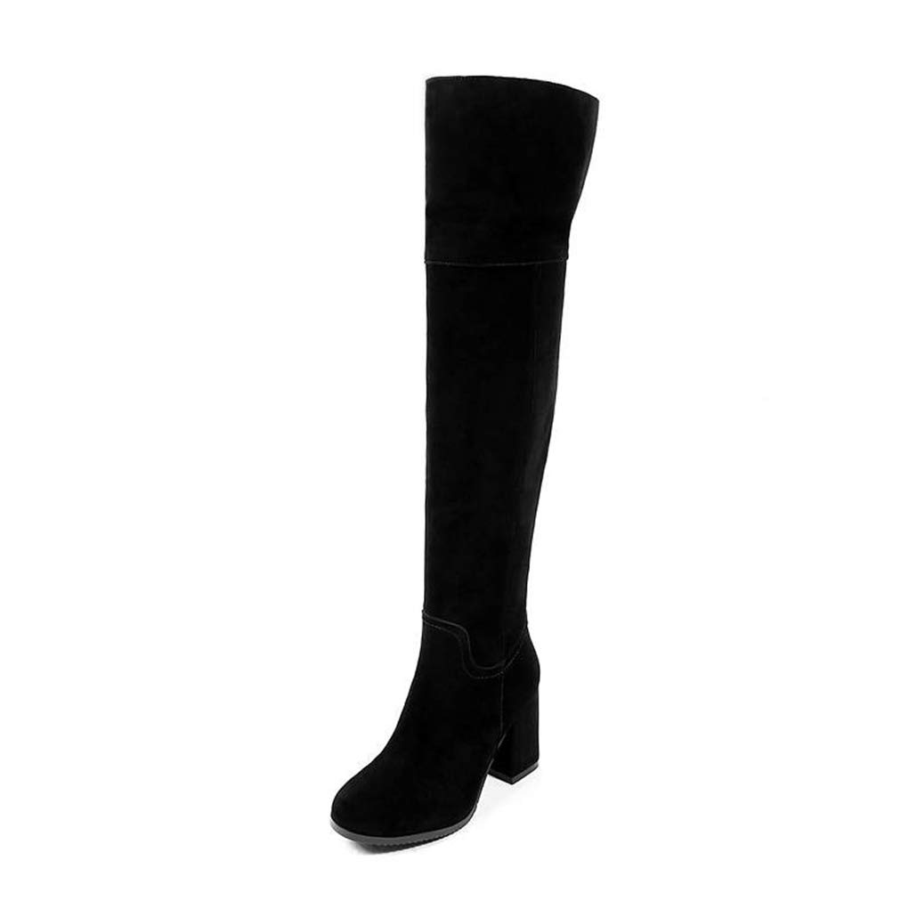Black no fur Winter Elegant Women Cow Suede Leather Long Boots Autumn shoes Over The Knee Boots Thigh High Boots