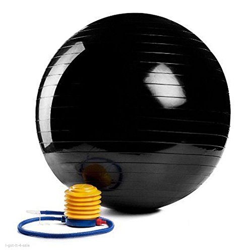 "Black Yoga Ball 29"" 75cm Exercise Fitness Pilates Balance Stability Anti-burst"