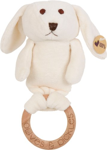 Olives and Pickles Organic Plush Wooden Teether, Bunny Sebastian, Small