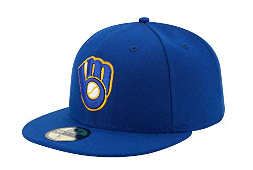 10047646 Men's Brewers ALT Glove Royal Blue Fitted Hat (7 1/2-7.5) ()