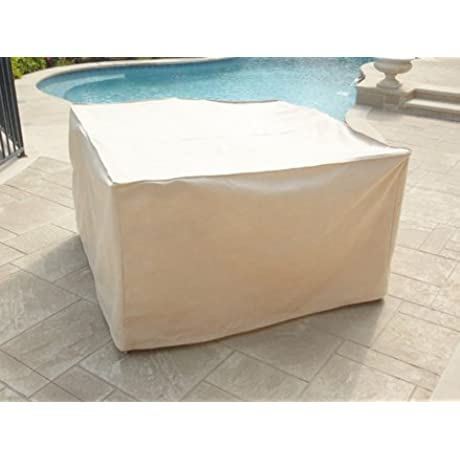 CoverMates Indoor Outdoor Patio Square Dining Table And Chair Set Cover 66W X 66D X 30H Select Collection 1 YR Warranty Year Around Protection Beige