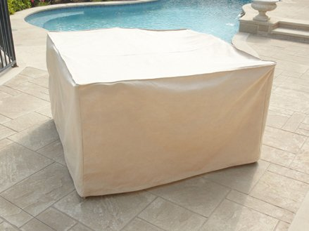 CoverMates – Indoor/Outdoor Patio Square Dining Table and Chair Set Cover 66W x 66D x 30H – Select Collection – 1 YR Warranty – Year Around Protection- Beige by CoverMates